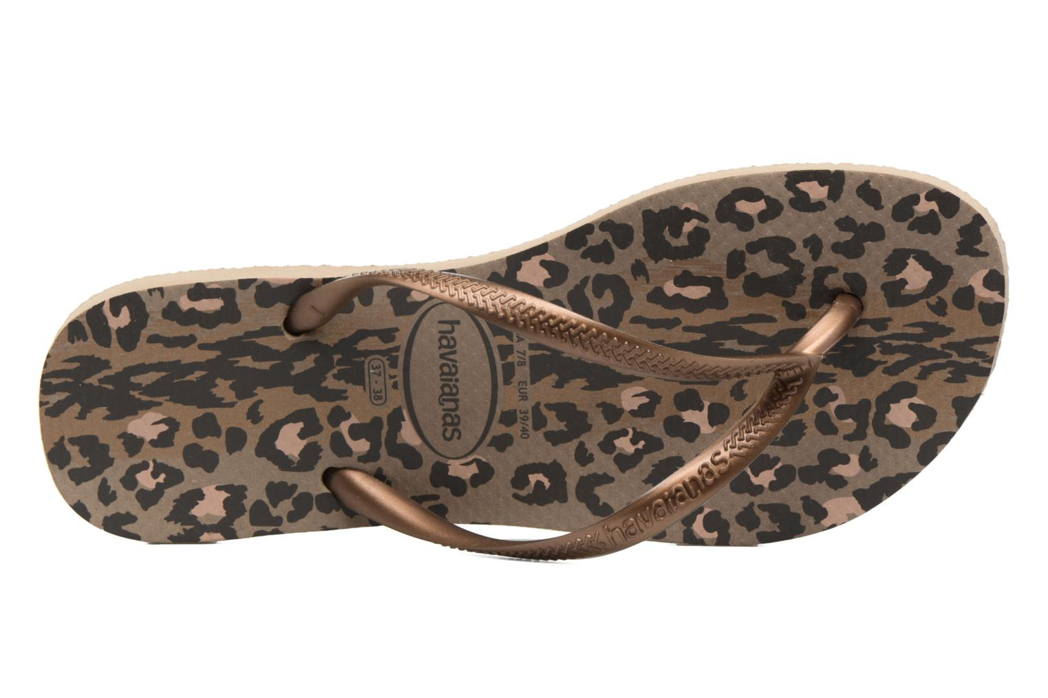 Zehensandalen Havaianas Slim Animals gold/bronze ansicht von links