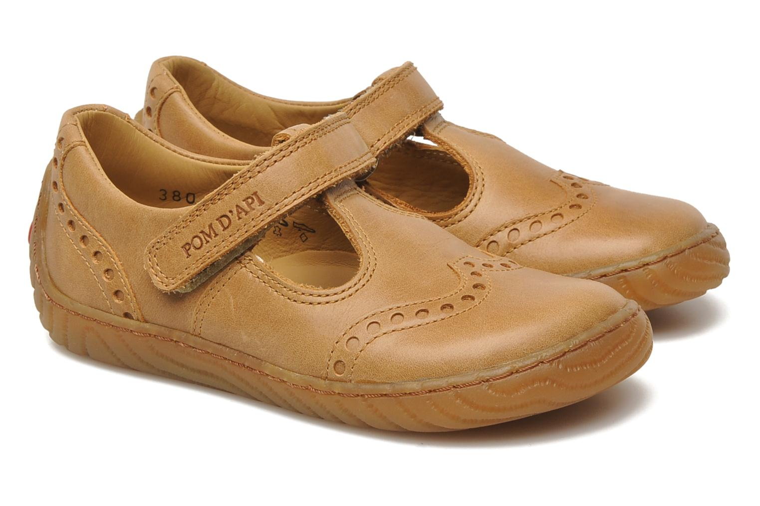 Velcro shoes Pom d Api WOODY SANDAL PERFO Brown 3/4 view