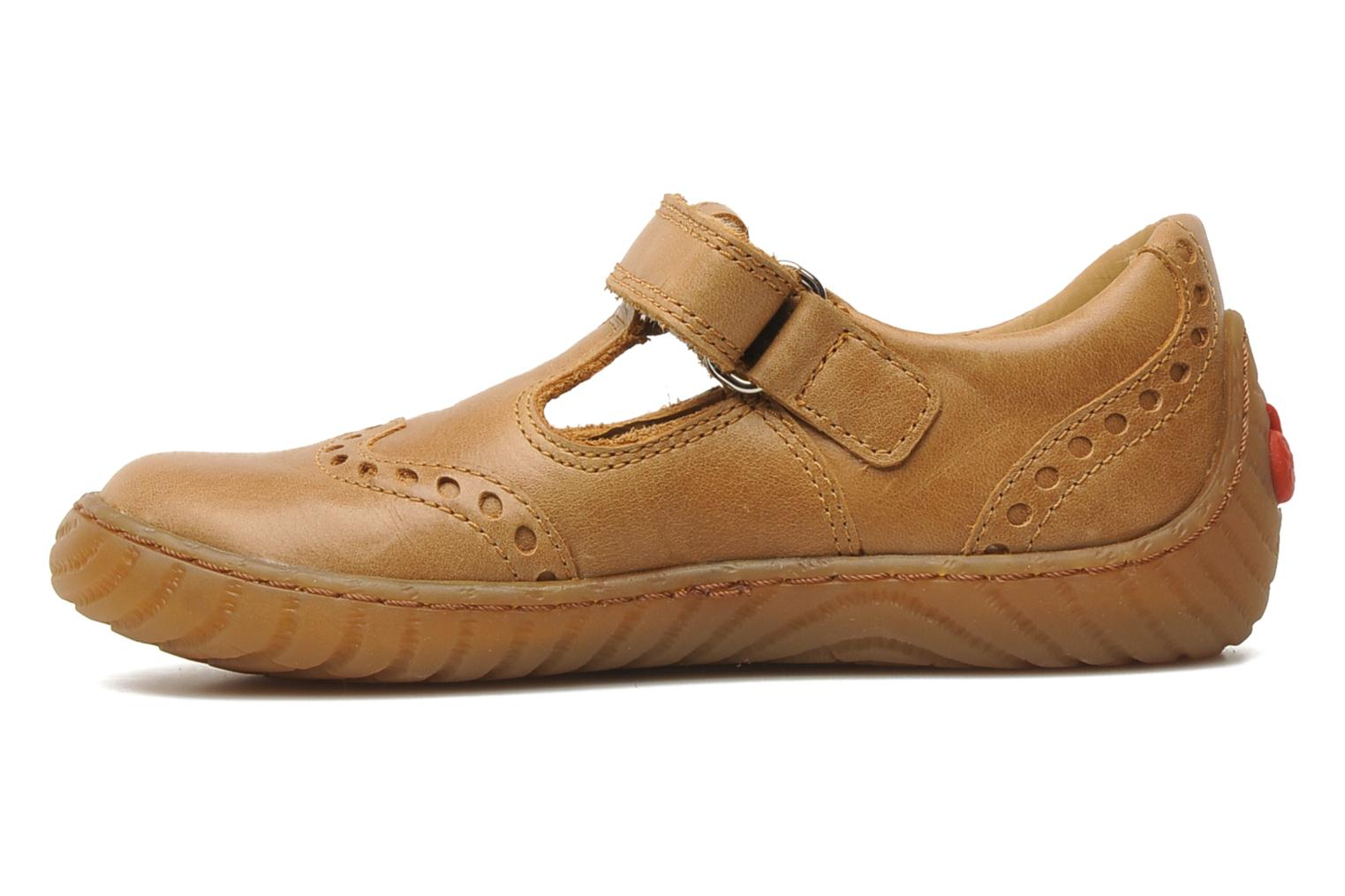 Velcro shoes Pom d Api WOODY SANDAL PERFO Brown front view