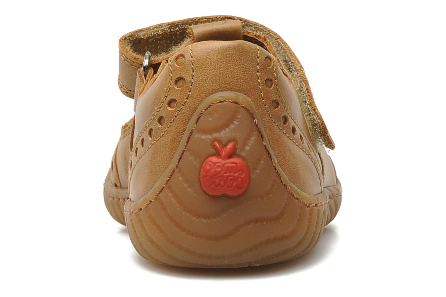 Velcro shoes Pom d Api WOODY SANDAL PERFO Brown view from the right
