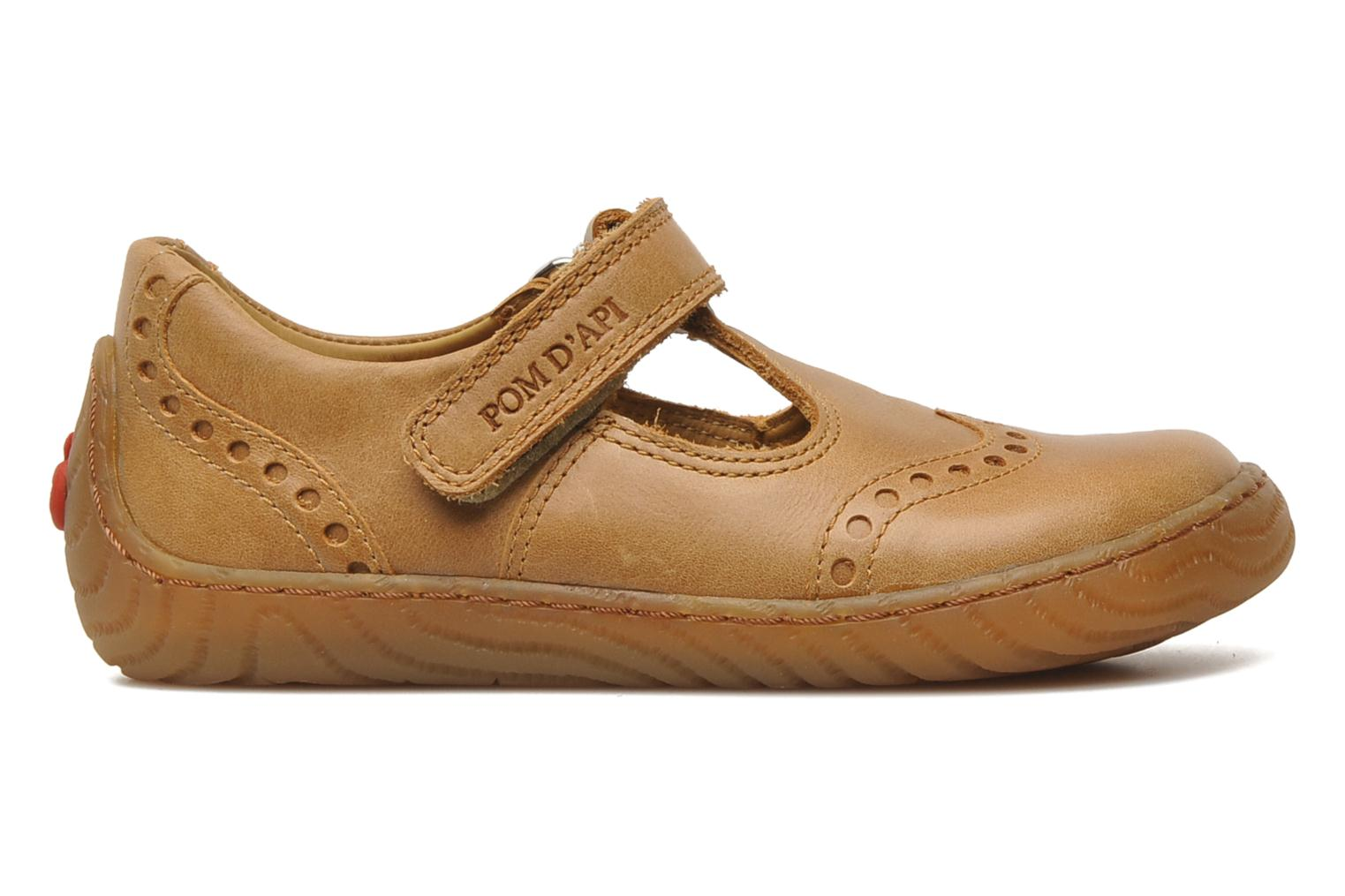 Velcro shoes Pom d Api WOODY SANDAL PERFO Brown back view