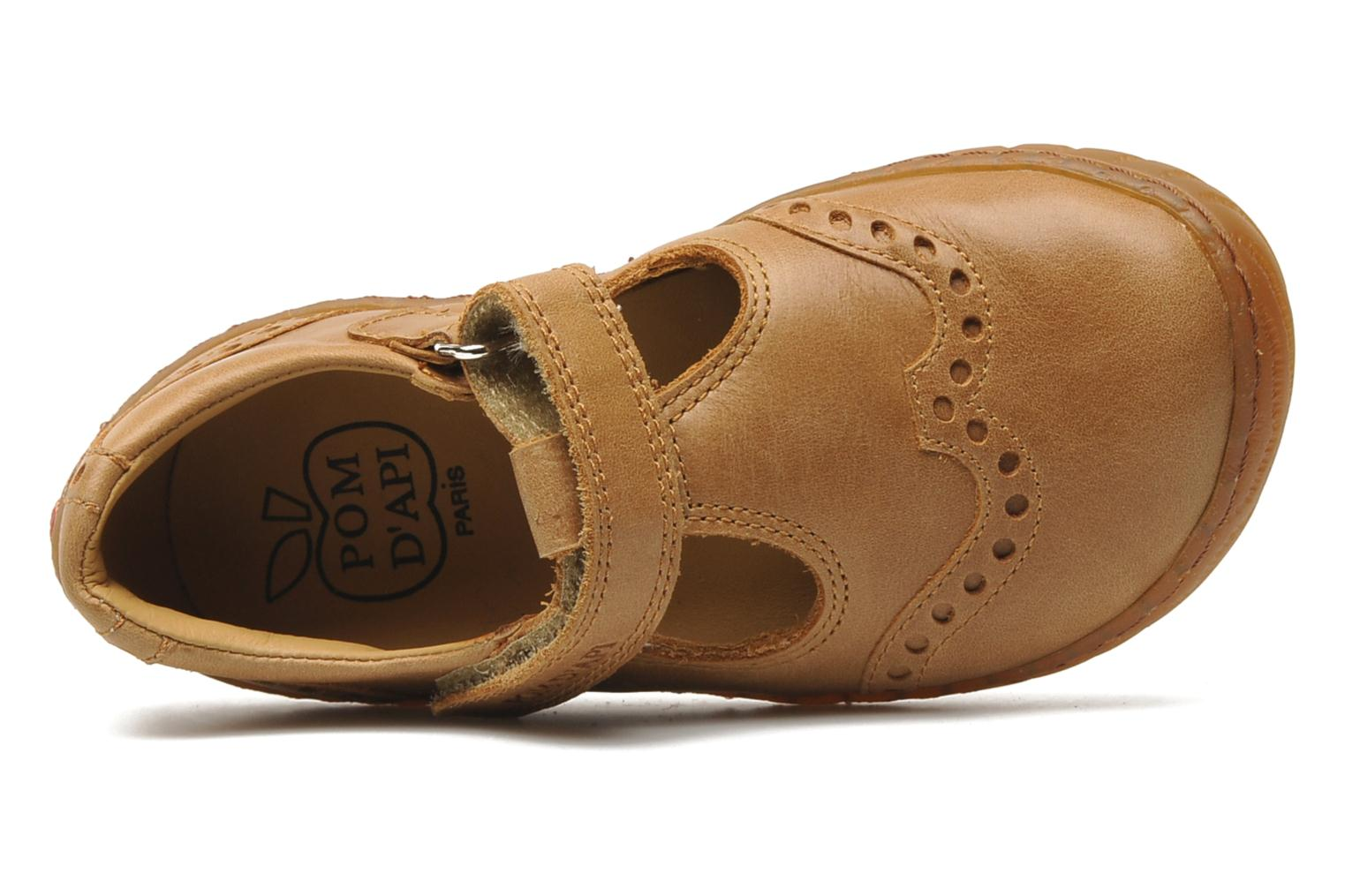 Velcro shoes Pom d Api WOODY SANDAL PERFO Brown view from the left