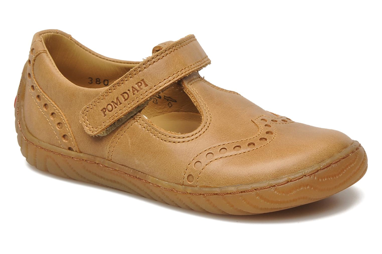 Velcro shoes Pom d Api WOODY SANDAL PERFO Brown detailed view/ Pair view