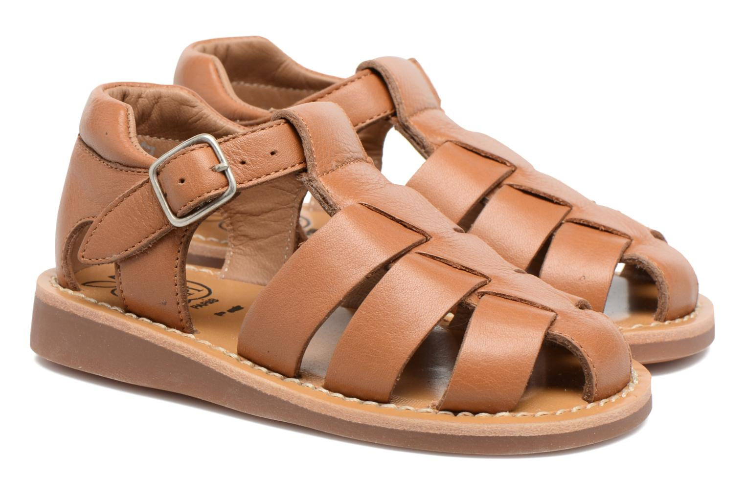 Sandals Pom d Api Yapo Papy Buckle Brown 3/4 view