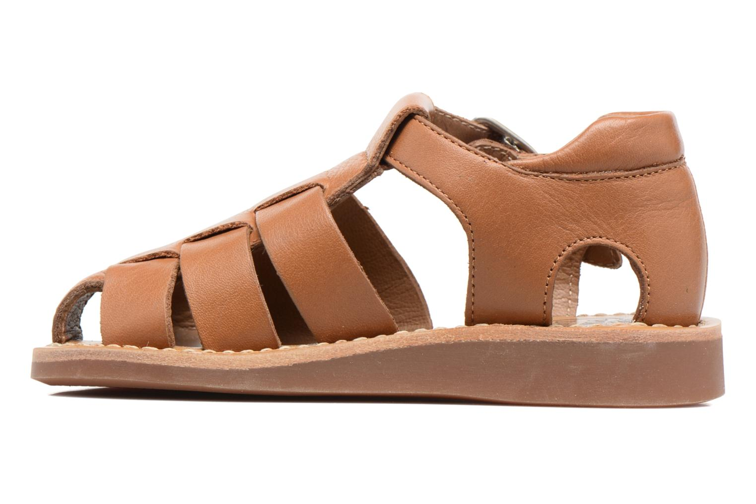 Sandals Pom d Api Yapo Papy Buckle Brown front view