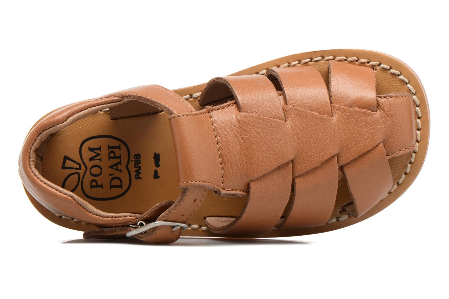 Sandals Pom d Api Yapo Papy Buckle Brown view from the left