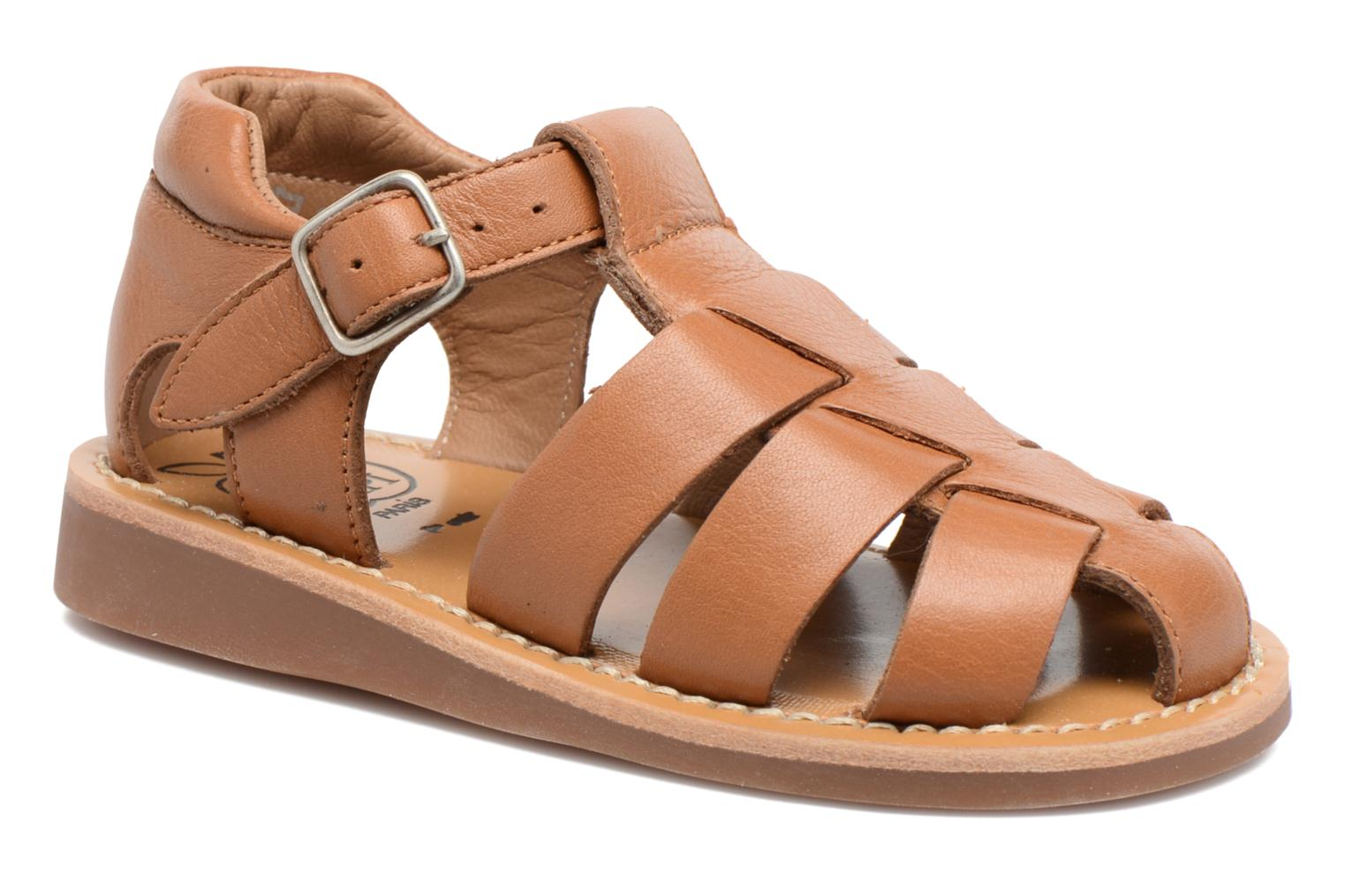 Sandals Pom d Api Yapo Papy Buckle Brown detailed view/ Pair view