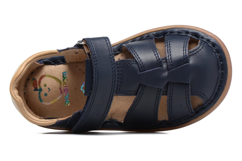 Sandalias Shoo Pom Crespin Tonton Azul vista lateral izquierda