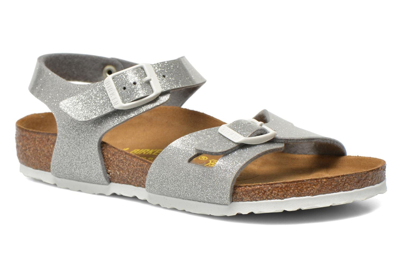 Sandals Birkenstock Rio Birko Flor Silver detailed view/ Pair view