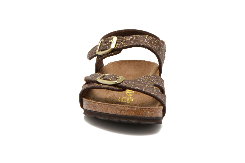 Sandales et nu-pieds Birkenstock Rio Birko Flor Marron vue portées chaussures