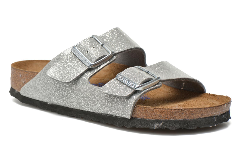 Clogs og træsko Birkenstock Arizona Flor W (Smal model) Sølv detaljeret billede af skoene