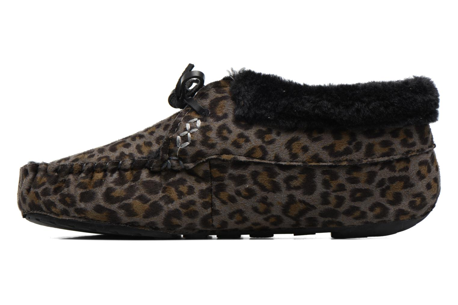 Slippers Ruby Brown Mocassin Leopard Grey front view
