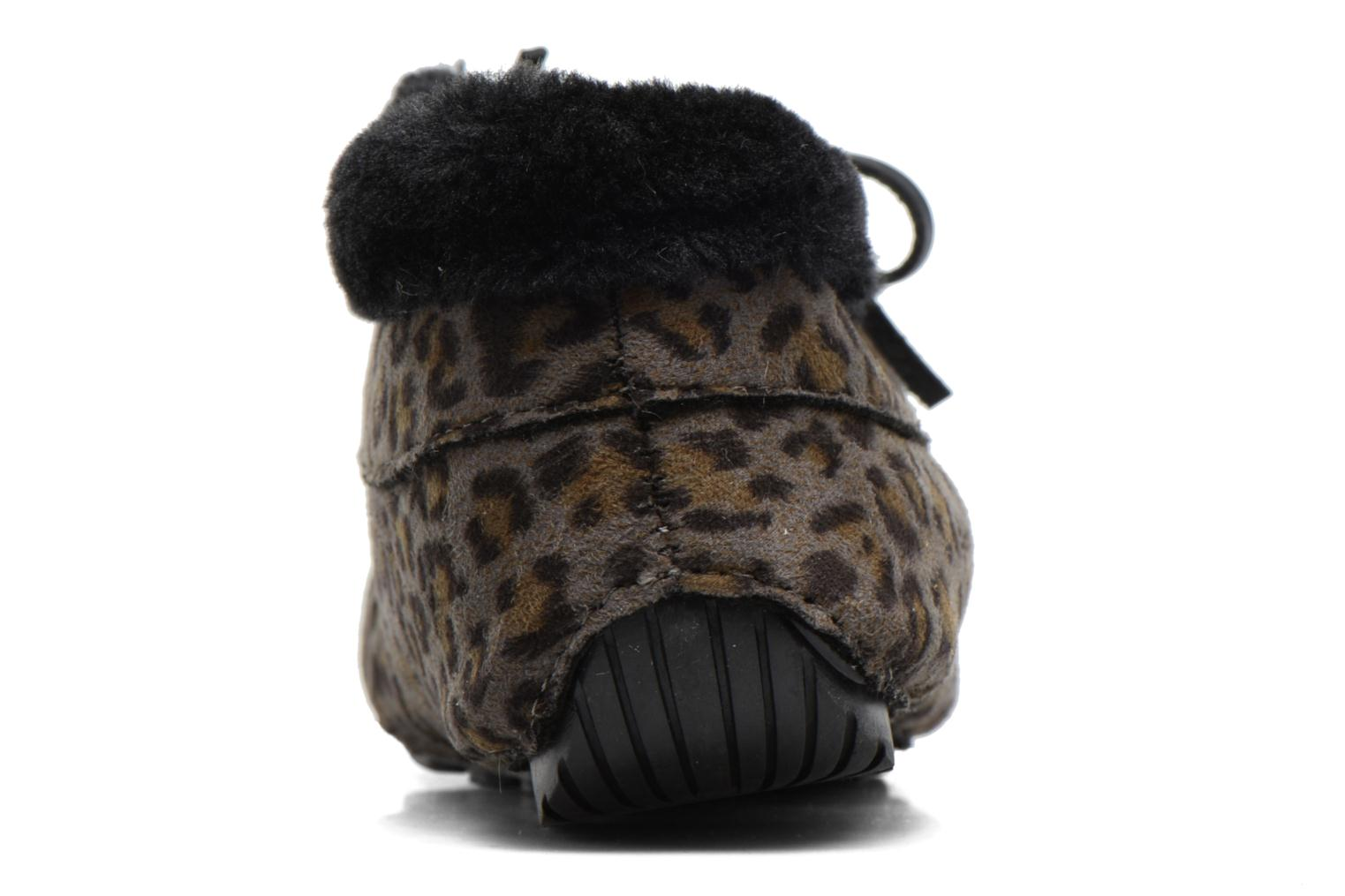 Slippers Ruby Brown Mocassin Leopard Grey view from the right