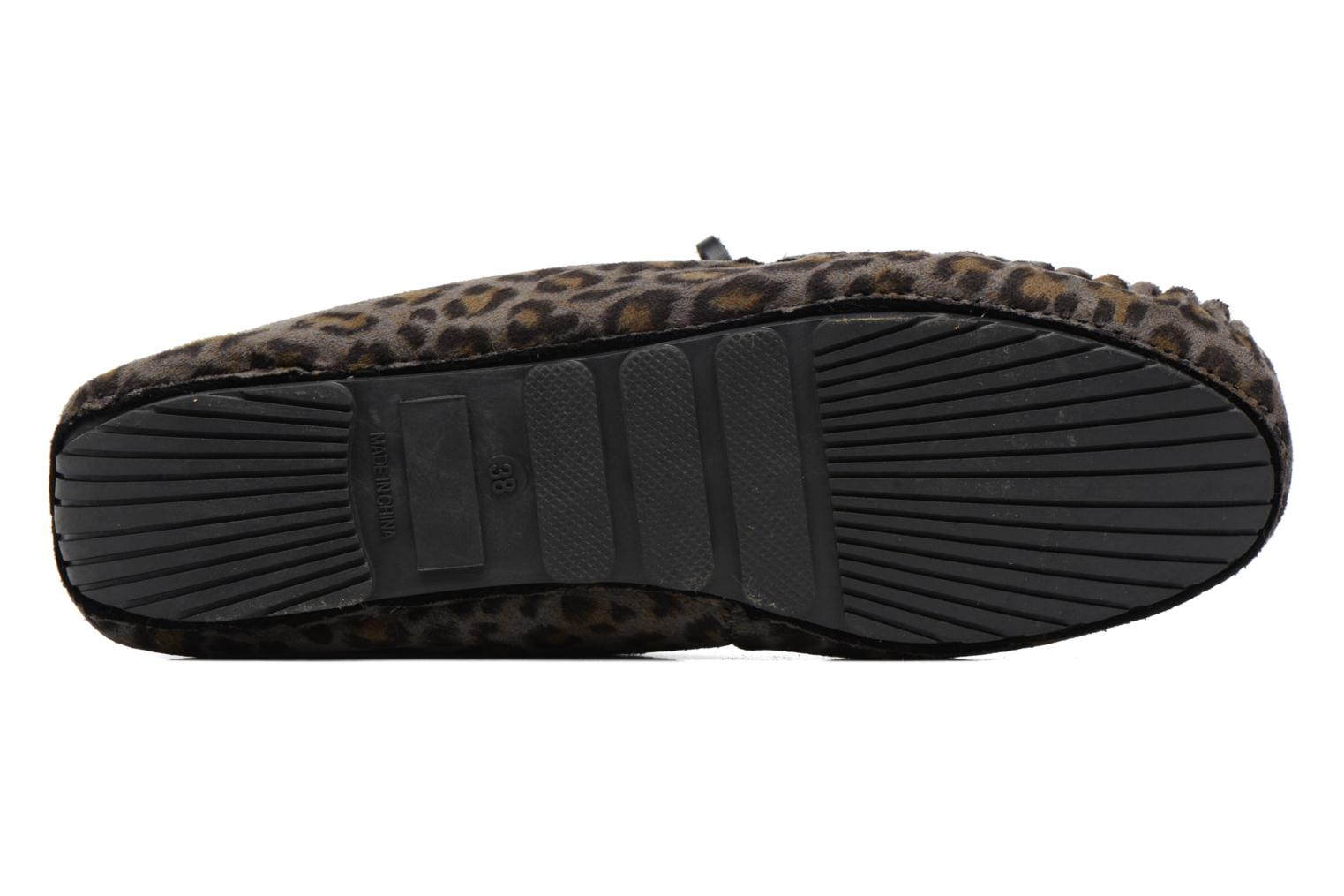 Slippers Ruby Brown Mocassin Leopard Grey view from above