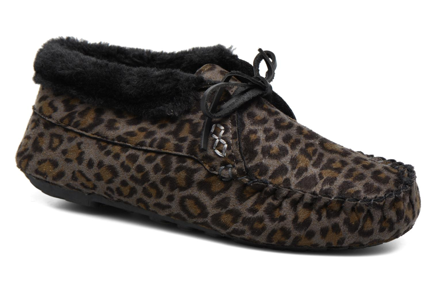 Slippers Ruby Brown Mocassin Leopard Grey detailed view/ Pair view