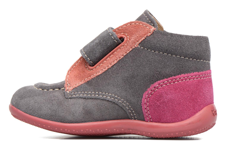 Zapatos con velcro Kickers Bono Gris vista de frente