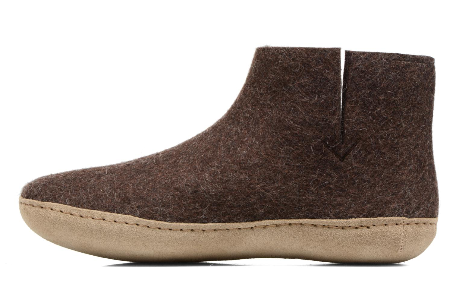 Slippers Glerups Poras M Brown front view