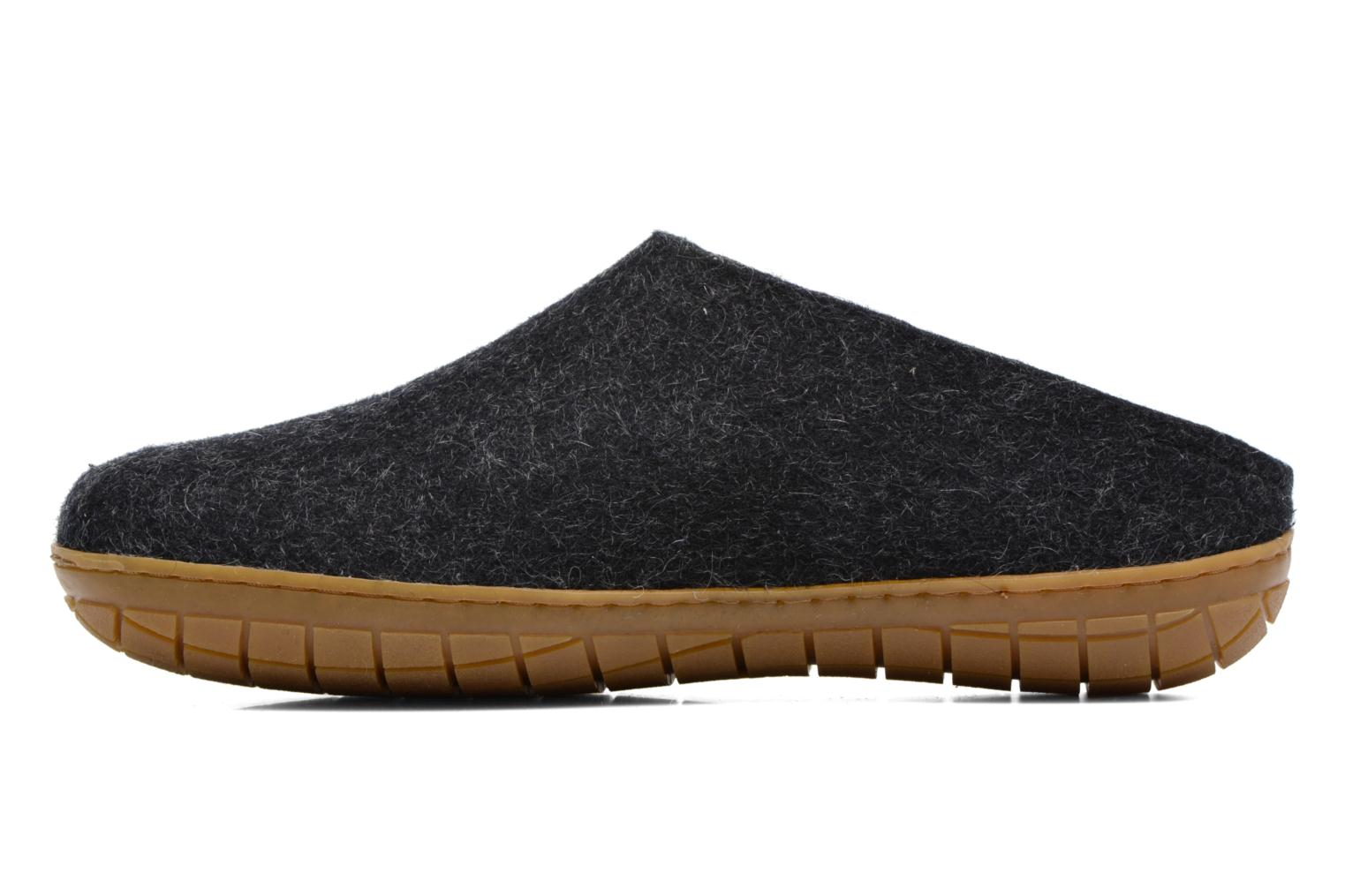 Slippers Glerups Piras Gomme M Black front view