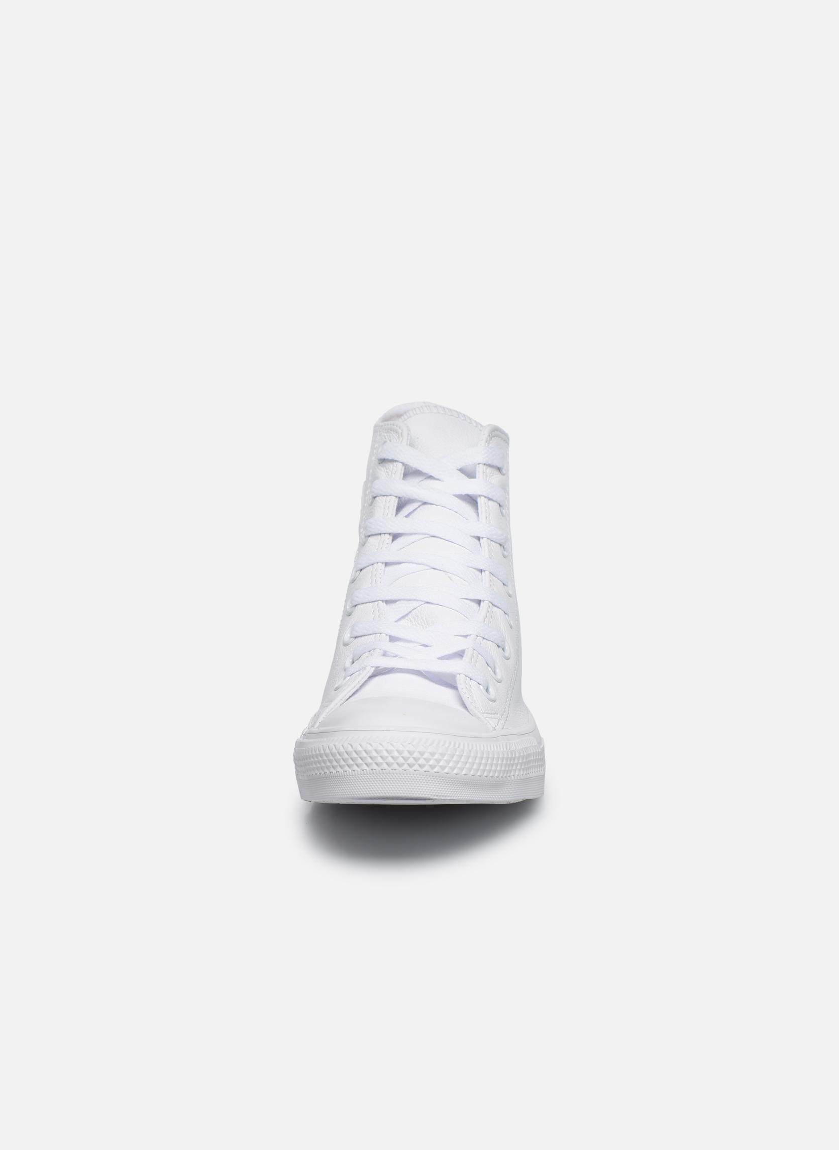 Baskets Converse Chuck Taylor All Star Mono Leather Hi W Blanc vue portées chaussures