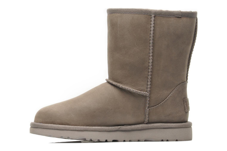 Bottes UGG K Classic Short Leather Gris vue face
