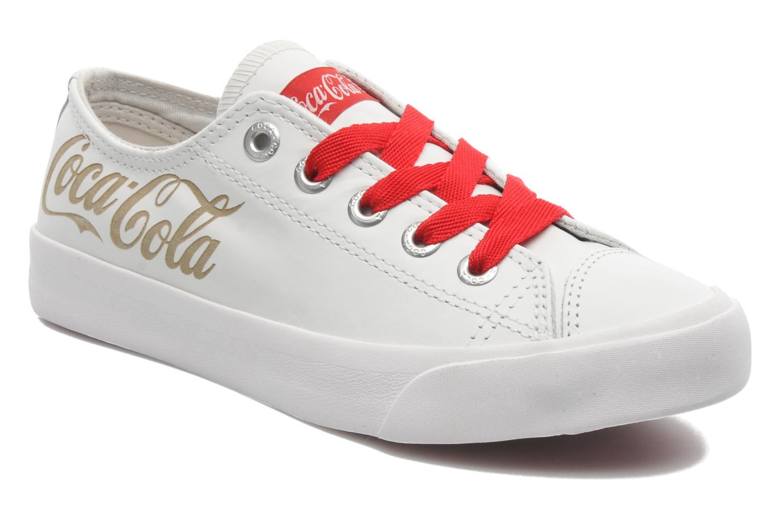 Trainers Coca-cola shoes Plain leather Low White detailed view/ Pair view