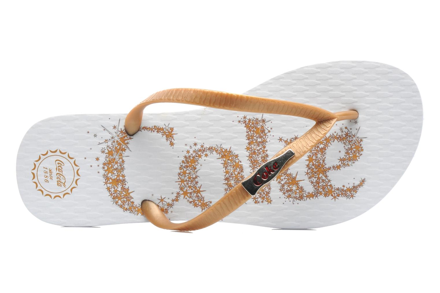 Flip flops Coca-cola shoes Coke Bright Bronze and Gold view from the left