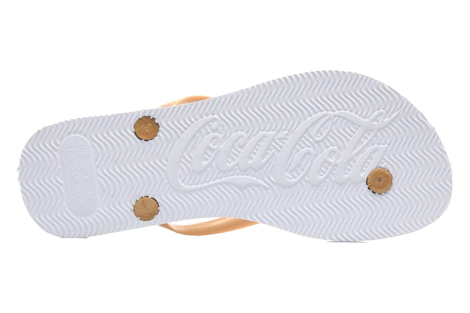 Flip flops Coca-cola shoes Coke Bright Bronze and Gold view from above