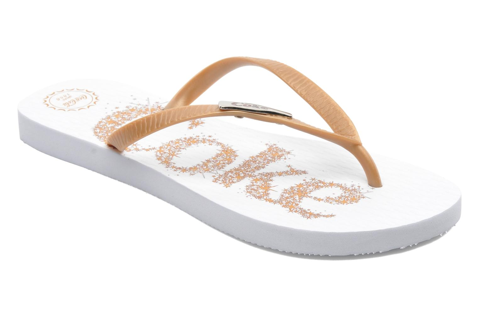 Flip flops Coca-cola shoes Coke Bright Bronze and Gold detailed view/ Pair view