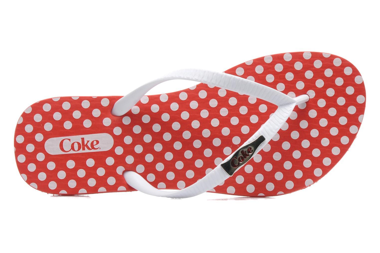 Tongs Coca-cola shoes Dots Rouge vue gauche