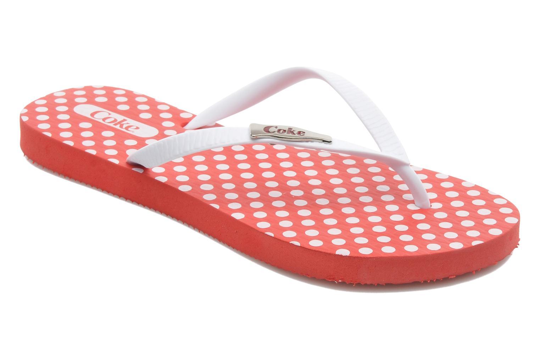 Flip flops Coca-cola shoes Dots Röd detaljerad bild på paret