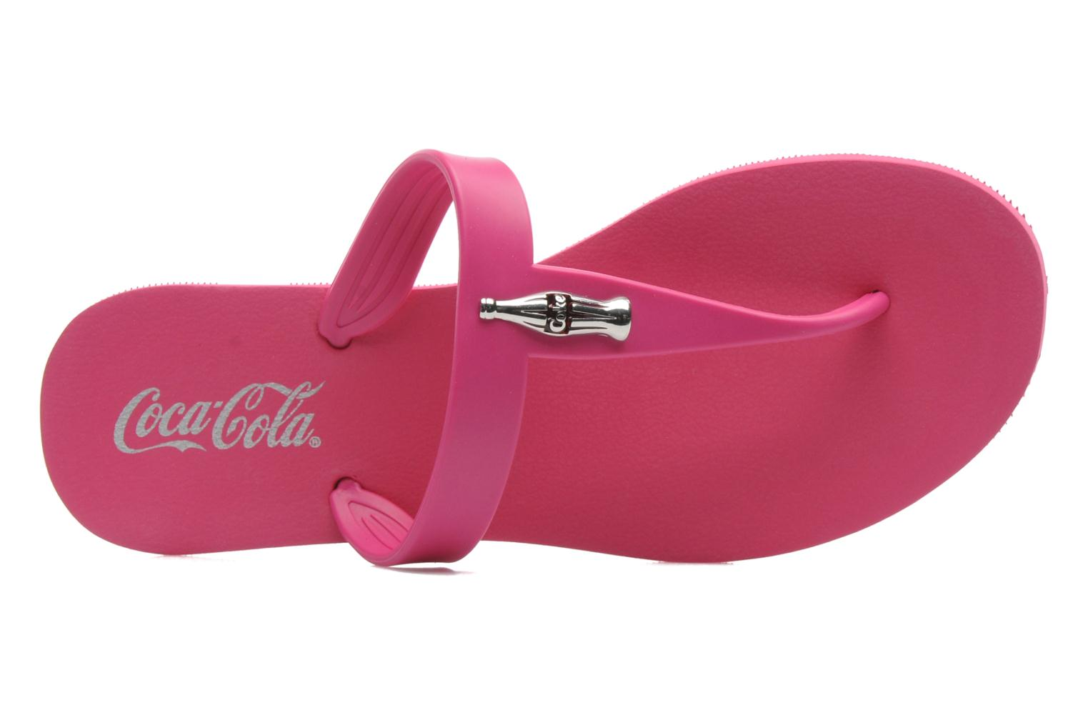 Flip flops Coca-cola shoes Fashion Bottle Pink view from the left