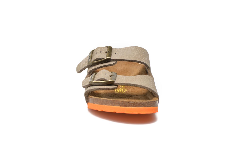 Sandalen Birkenstock Arizona Birko-Flor grau schuhe getragen