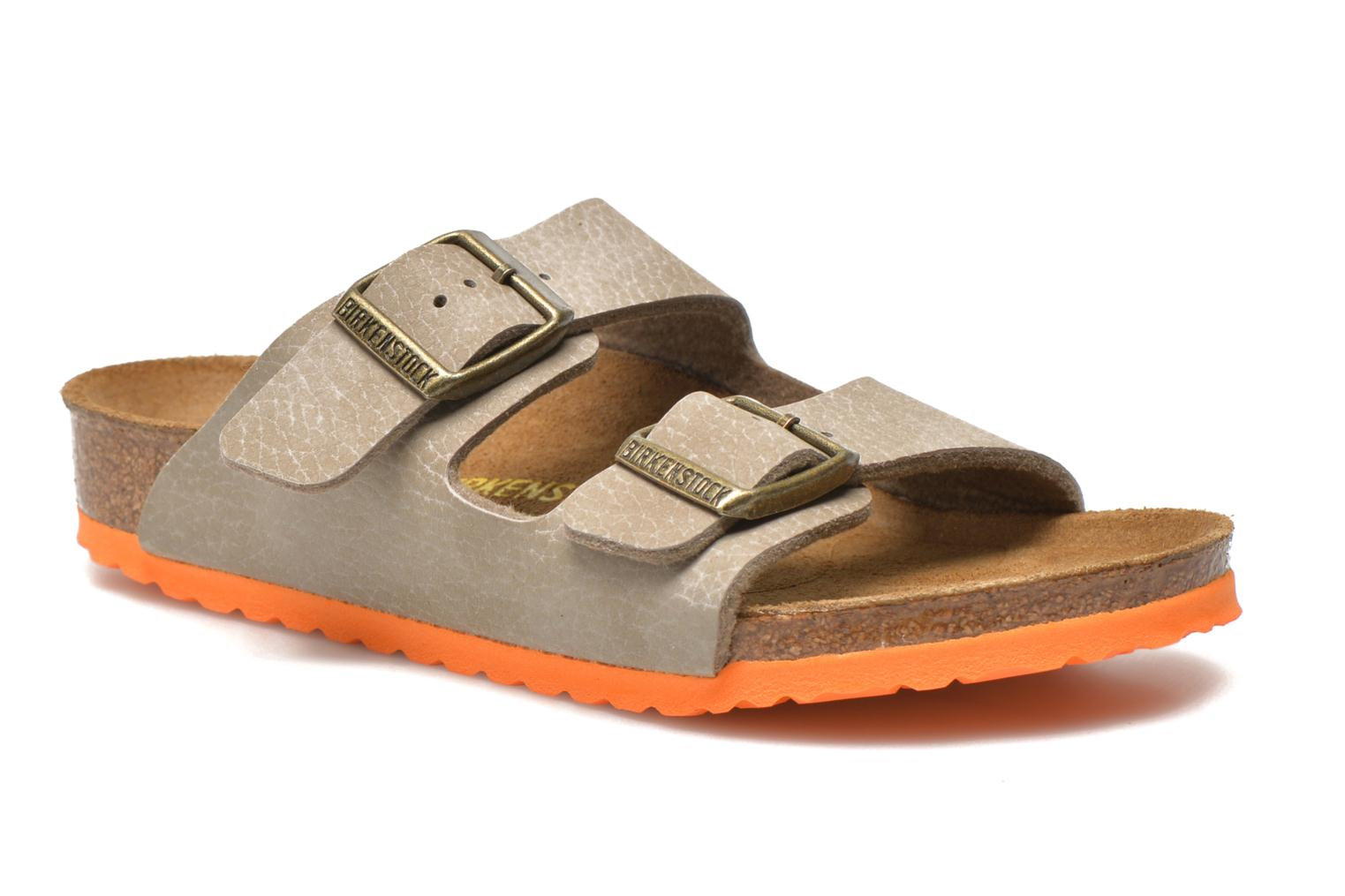 Sandals Birkenstock Arizona Birko-Flor Grey detailed view/ Pair view