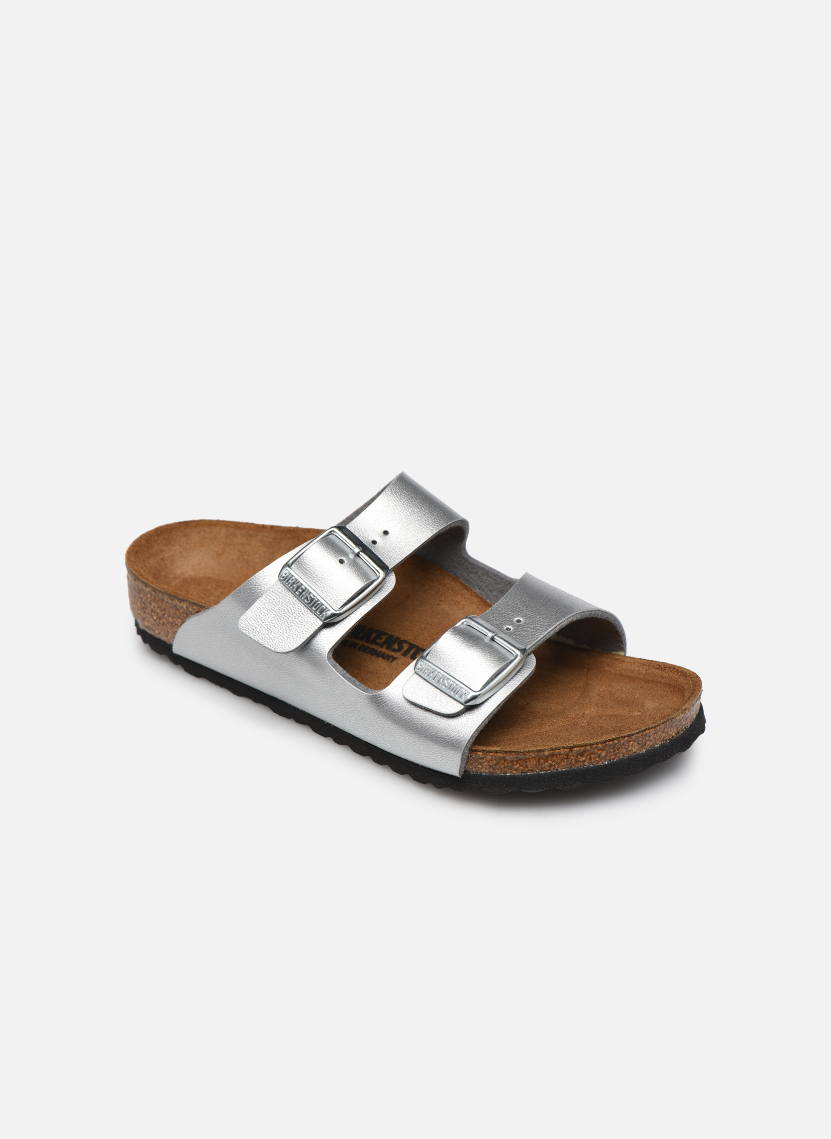 Sandals Birkenstock Arizona Birko-Flor Silver detailed view/ Pair view