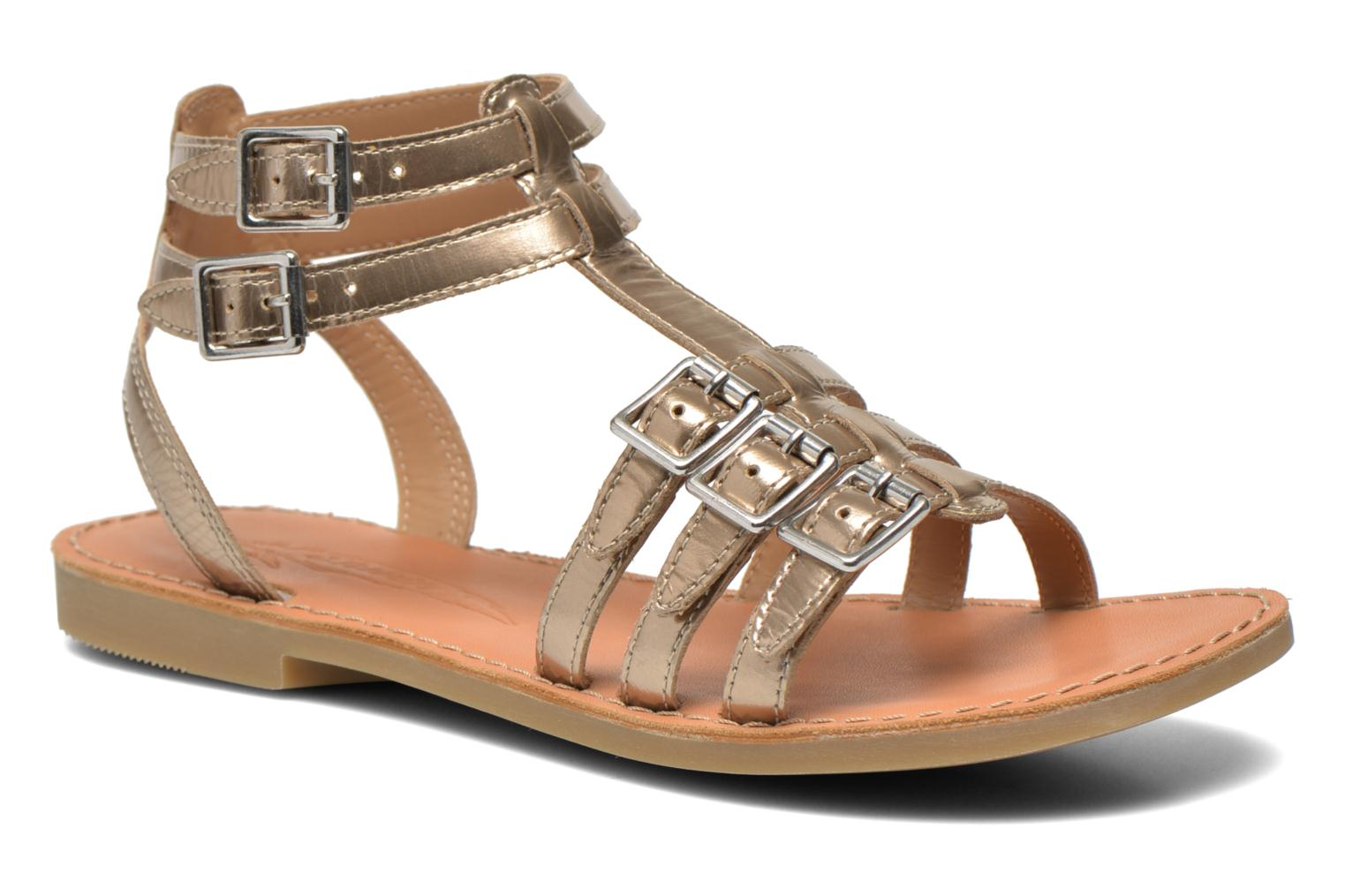 Sandals Shwik LAZAR BUCKLES Bronze and Gold detailed view/ Pair view