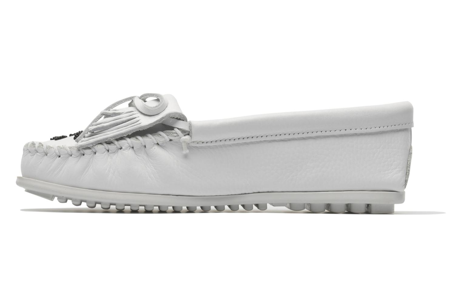 Mocasines Minnetonka Original Thunderbird Blanco vista de frente