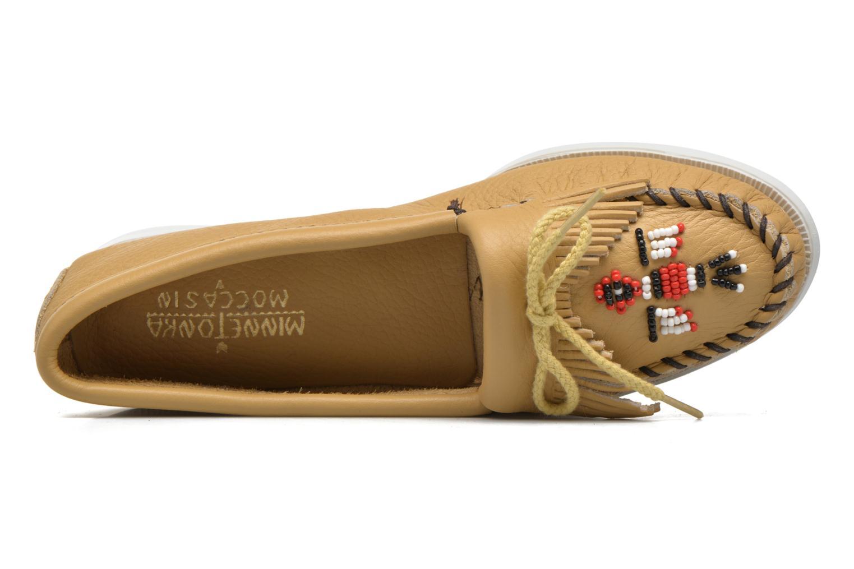 Slipper Minnetonka Original Thunderbird beige ansicht von links