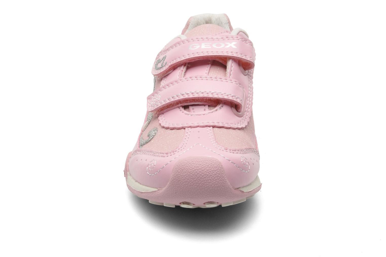 Baskets Geox J N.JOCKER G.D- TES.BR+GBK PER Rose vue portées chaussures