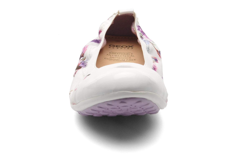 Ballerines Geox J PIUMA BAL B - TES.ST+VER.SIN Blanc vue portées chaussures