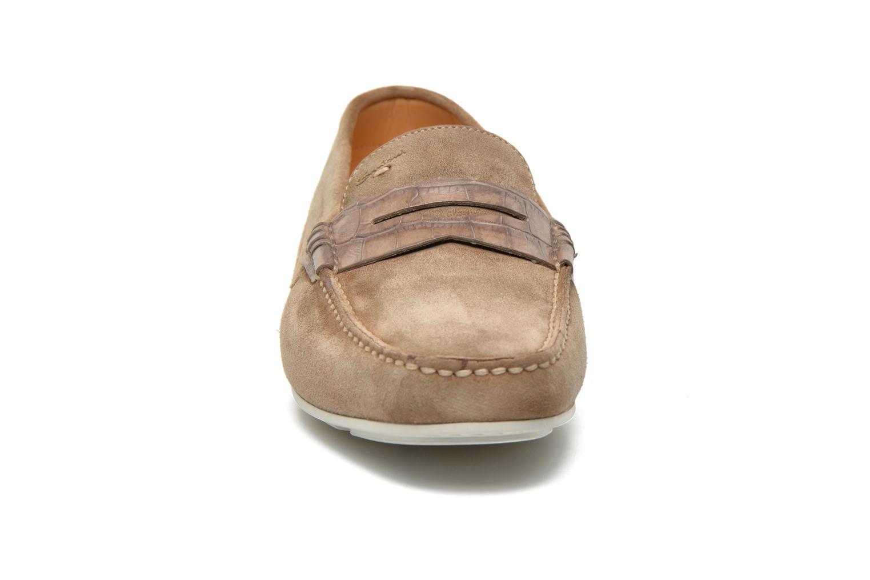 Mocassins Santoni Wellington 11500 Beige vue portées chaussures