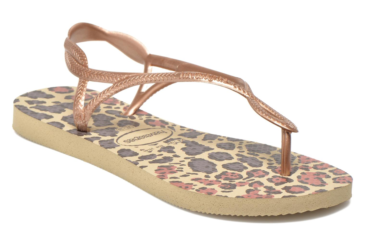 Sandals Havaianas Havaianas Luna Animals Bronze and Gold detailed view/ Pair view