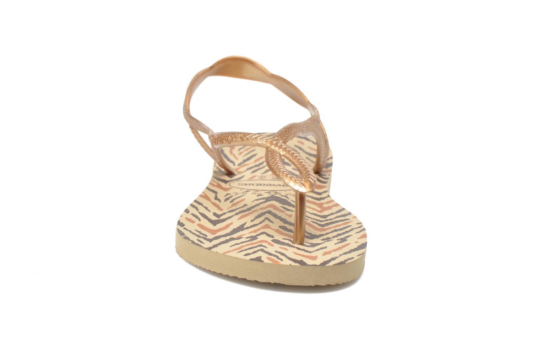 Sandales et nu-pieds Havaianas Havaianas Luna Animals Or et bronze vue portées chaussures