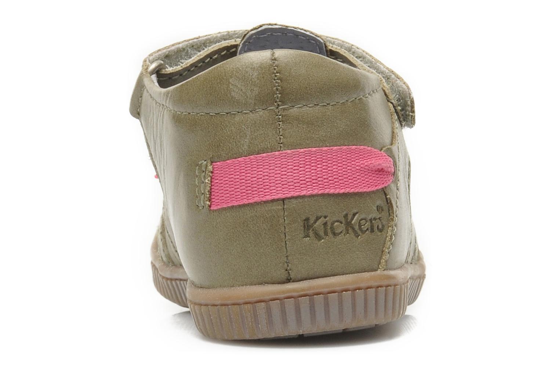 Chaussures à scratch Kickers NOVELLA Vert vue droite