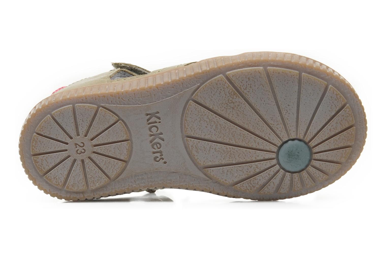 Chaussures à scratch Kickers NOVELLA Vert vue haut