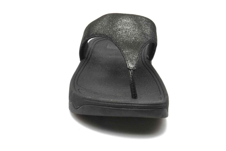 Zehensandalen FitFlop Lulu Shimmersuede silber schuhe getragen