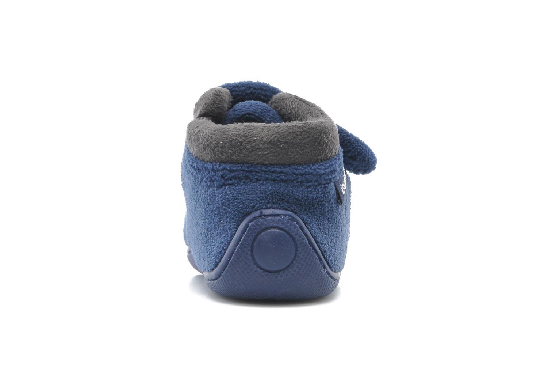 Hausschuhe Isotoner Bottillon velcro micro-éponge blau ansicht von rechts
