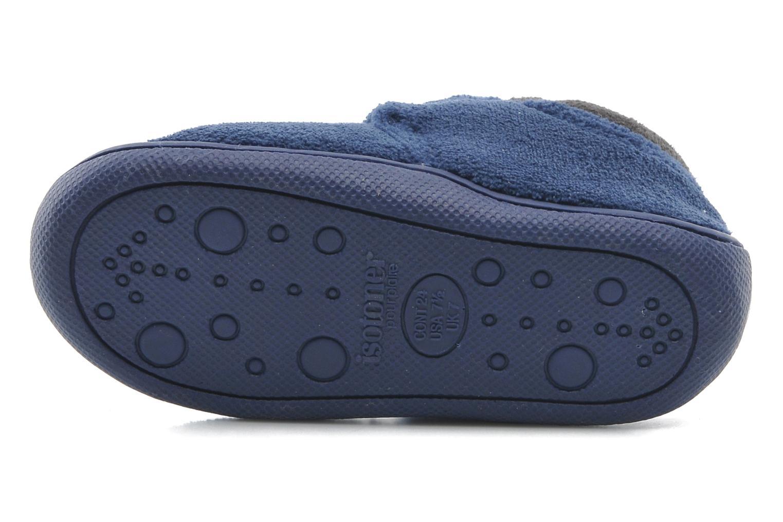 Pantoffels Isotoner Bottillon velcro micro-éponge Blauw boven