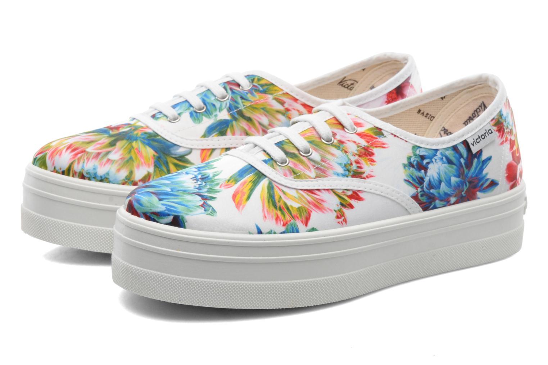 Sneakers Victoria Inglesa Flores Plataforma Multicolor 3/4'