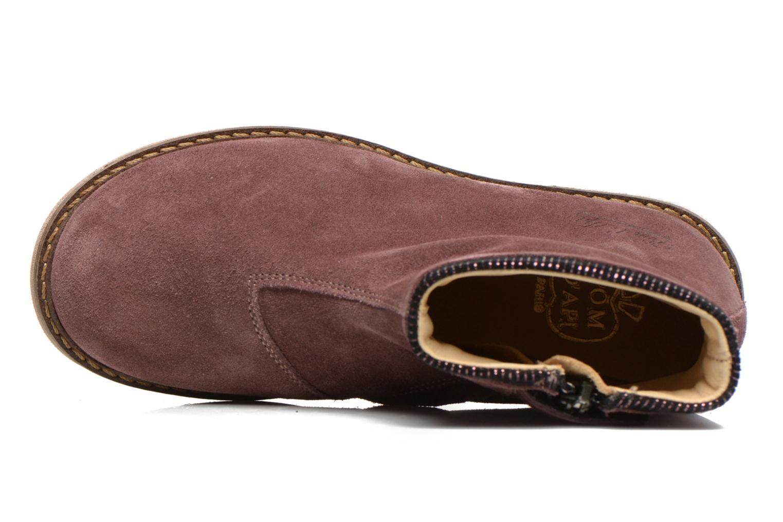 Bottines et boots Pom d Api Trip boots stripes velours Bordeaux vue gauche