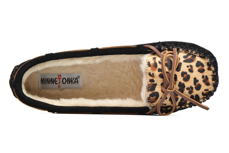 Chaussons Minnetonka Leopard Cally Noir vue gauche